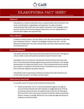 Islamophobia Fact Sheet