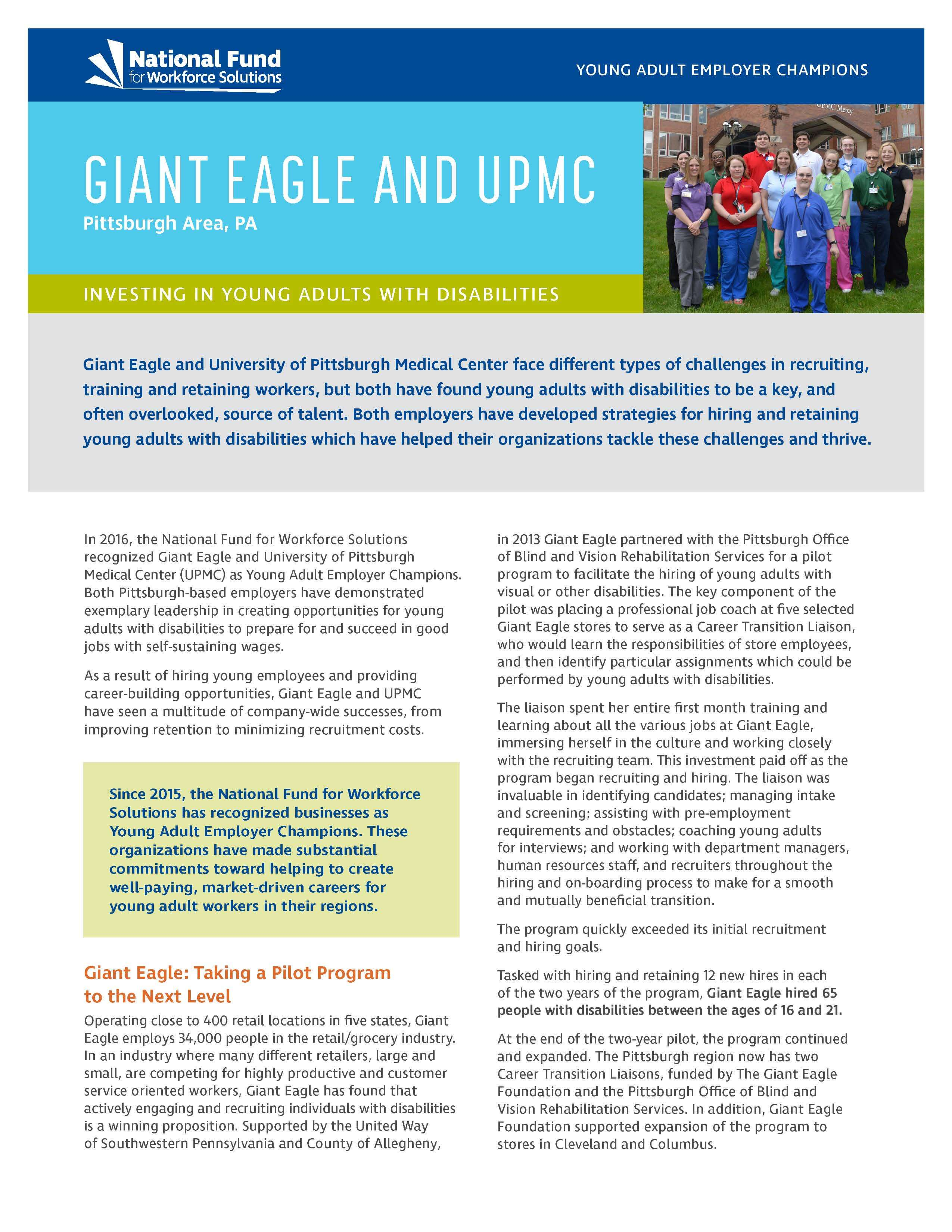 Giant Eagle and UPMC: Investing in Young Adults with Disabilities