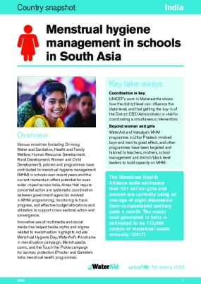 Menstrual hygiene management in schools in South Asia: India