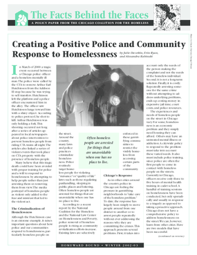 Creating a Positive Police and Community Response to Homelessness